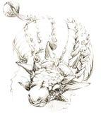 dinosaur esboço do lápis do desenho do dinossauro Imagens de Stock