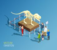 Dinosaur Exhibition Background Composition. Museum infographic background with isometric composition of dinosaur skeleton and group of visitors to a museum Stock Photos