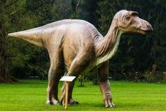 Dinosaur exhibition in botanic park. VOLCJI POTOK, SLOVENIA - April 6th 20014: Dinosaur exhibition in botanic park Arboretum in Volcji Potok, Slovenia, attracts Royalty Free Stock Image