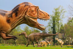 Dinosaur exhibition in botanic park Royalty Free Stock Photos