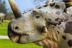 Dinosaur exhibition in botanic park. VOLCJI POTOK, SLOVENIA - April 6th 20014: Dinosaur exhibition in botanic park Arboretum in Volcji Potok, Slovenia, attracts Stock Images