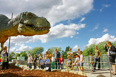 Dinosaur exhibition in Finnish Science Centre Stock Photos