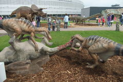 Dinosaur exhibition. Life-size moving models of dinosaurs at the Prague's exhibition Stock Photos