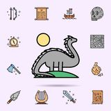 Dinosaur, extinct, wild life, animal, sun icon. Universal set of history for website design and development, app development. On color background vector illustration