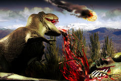 Dinosaur extinction. A Tyrannosaurus Rex is eating a the prey which he has just hunted, when he sees a fireball in the sky falling on the Earth. The dinosaur Royalty Free Stock Image