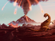 Dinosaur Extinction - Erupting volcano artwork. Artwork of a violently erupting volcano raining fire down on a helpless dinosaur Royalty Free Stock Images