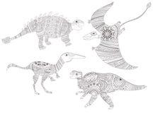 dinosaur Färga sidan för barn- och vuxen människavektor cartoon isolerat royaltyfri illustrationer