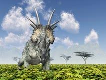 dinosaur för clipping 3d över white för styracosaurus för banaframförandeskugga Royaltyfri Foto