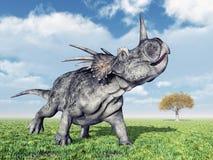 dinosaur för clipping 3d över white för styracosaurus för banaframförandeskugga Arkivfoto