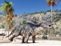 dinosaur för clipping 3d över white för styracosaurus för banaframförandeskugga Royaltyfria Foton