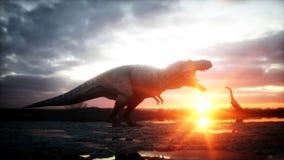 dinosaur Förhistorisk period stenigt landskap Wonderfull soluppgång framförande 3d royaltyfri illustrationer
