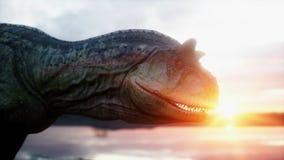 dinosaur Förhistorisk period stenigt landskap Wonderfull soluppgång framförande 3d Royaltyfri Fotografi