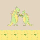 Dinosaur family cozy wear top and bottom patterns Royalty Free Stock Image