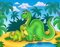 Dinosaur family in landscape. Color illustration Stock Images