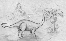 Dinosaur feeding on plants. Hand drawn pencil sketch of an ancient prehistoric landscape with dinosaur - diplodocus actually - feeding on plants reaching the Royalty Free Stock Images
