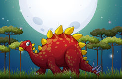 Dinosaur in the field on fullmoon night. Illustration Royalty Free Stock Image