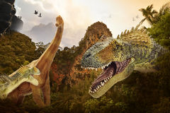 Dinosaur. Fight scene of the two s fighting each Stock Photography