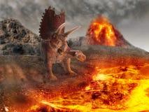 Dinosaur 3D render. Dinosaur flat art night mountain landscape with volcano erupting Stock Photos