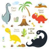Dinosaur footprint, Volcano, Palm tree, Stones, Bone and Cactus. Vector illustration royalty free illustration