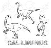 Dinosaur Gallimimus Cartoon Vector Illustration Monochrome stock illustration