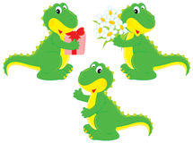 Dinosaur with a gift and nosegay Stock Photos