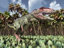 Dinosaur Giganotosaurus in the jungle Royalty Free Stock Photography