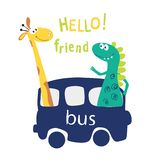 Cute cartoon dinosaurs and a giraffe go by bus and enjoy. Modern, positive phrase hi. Printing of children`s cards, stickers, pape stock illustration