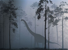 Dinosaur. Goes through the misty forest, blue tone Stock Photography