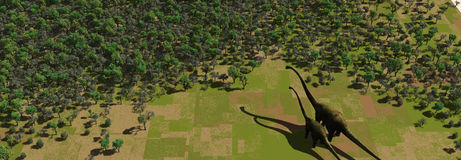 Dinosaur in a Green Forrest. Two 3d Dinosaurs in a Green Forrest Royalty Free Stock Photo