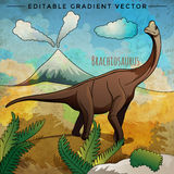 Dinosaur in the habitat. Vector Illustration Of Brachiosaur Royalty Free Stock Images