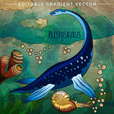 Dinosaur in the habitat. Vector Illustration Of Plesiosaur Stock Photography