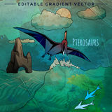 Dinosaur in the habitat. Vector Illustration Of Pterosaur. Pterosaurs. Vector illustration of a dinosaur in its habitat Stock Images