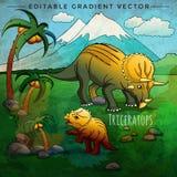 Dinosaur in the habitat. Vector Illustration Of Triceratops Royalty Free Stock Photos