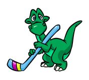 Dinosaur hockey player  cartoon Stock Images