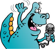 Dinosaur holding a microphone stock illustration