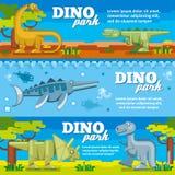 Dinosaur horizontal banners set in flat design. Style. Dino park with animal prehistoric, vector illustration Stock Image