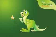 Dinosaur i motyl Obrazy Royalty Free