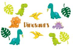 Dinosaur icons in flat style for designing dino party, children holiday, dinosaurus related materials stock photo
