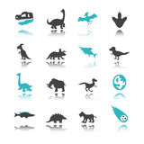 Dinosaur icons with reflection Royalty Free Stock Photography