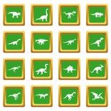 Dinosaur icons set green royalty free illustration