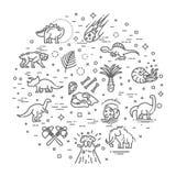 Dinosaur icons vector. Dinosaur egg and volcano, dinosaur skeleton and tyrannosaurus icons Royalty Free Stock Images