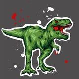 dinosaur Illustrazione luminosa di vettore Rettile del fumetto tyrannosaur Stampa sui vestiti, disegnanti per le cartoline hipste illustrazione vettoriale