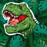 dinosaur Illustrazione luminosa di vettore Rettile del fumetto tyrannosaur Stampa sui vestiti, disegnanti per le cartoline hipste illustrazione di stock