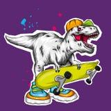dinosaur Ilustra??o brilhante do vetor R?ptil dos desenhos animados tyrannosaur Cópia na roupa, tirando para cartão hipster skate ilustração royalty free