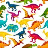 Dinosaur, jurassic animal monster seamless pattern. Dinosaur and jurassic animal seamless pattern. Tyrannosaurus, triceratop, stegosaurus, pterodactyl, t-rex stock illustration