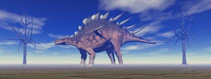 Dinosaur kentrosaurus and trees Royalty Free Stock Image