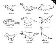 Dinosaur kolorystyki książki kreskówki Wektorowa ilustracja Ustawia 1 ilustracja wektor