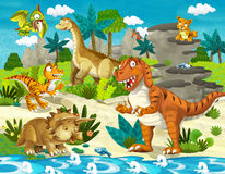 The dinosaur land - illustration for the children. Beautiful and colorful illustration of dinosaur land Stock Photography