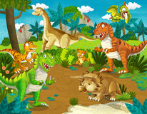 The dinosaur land - illustration for the children. Beautiful and colorful illustration of dinosaur land Royalty Free Stock Photography