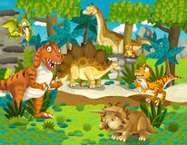 The dinosaur land - illustration for the children. Beautiful and colorful illustration of dinosaur land Royalty Free Stock Image